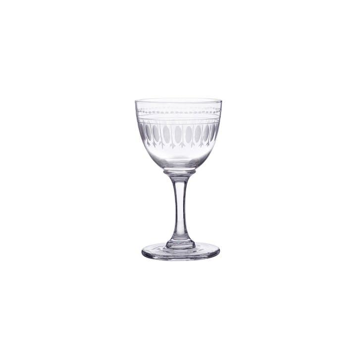Oval Patterned Crystal Liqueur Glasses, Set Of 6
