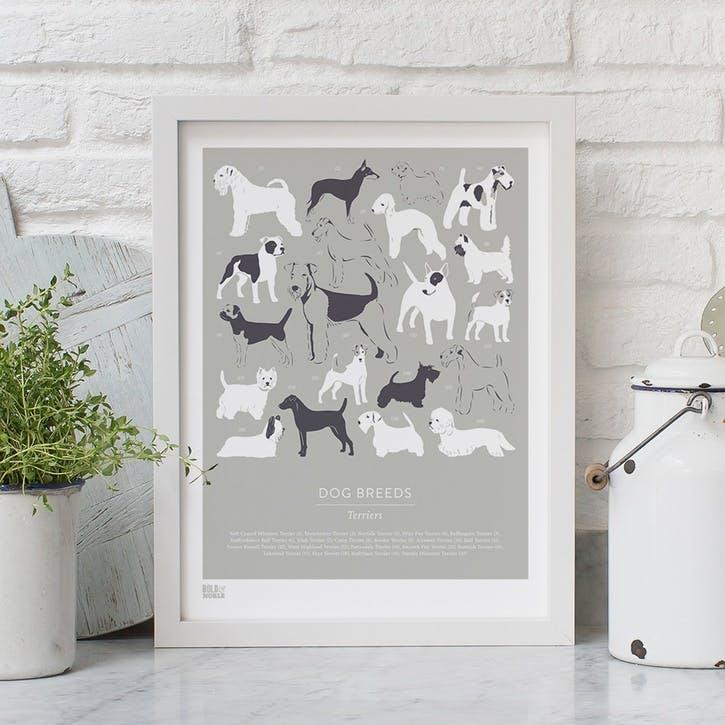 Dog Breeds Terriers Screen Print, 30cm x 40cm, Putty