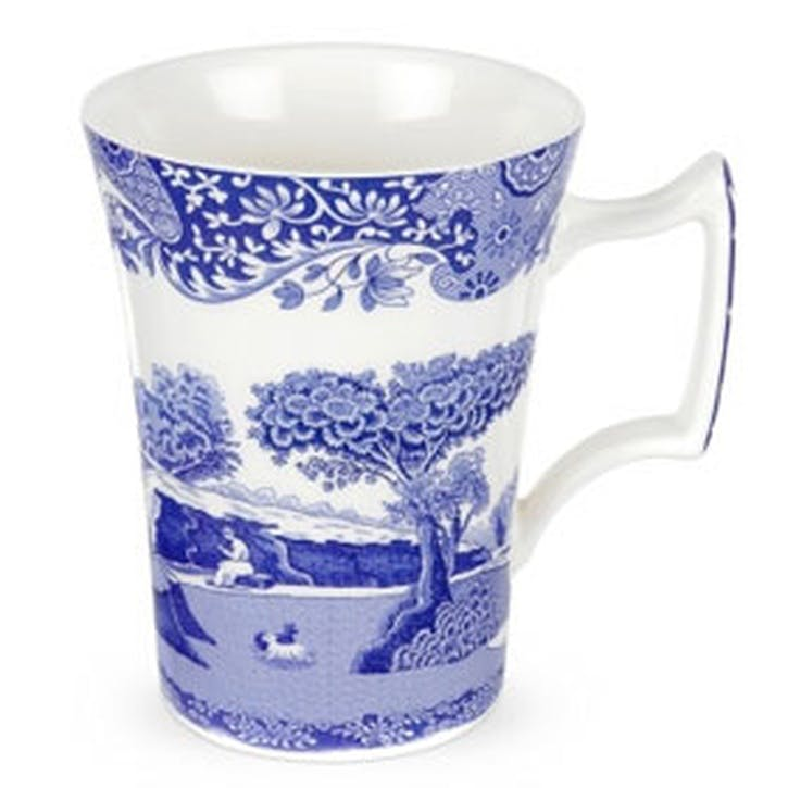 Blue Italian Cottage Mugs, Set of 4