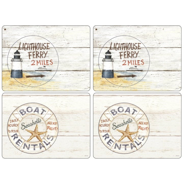 Coastal Signs Placemats, Set of 4