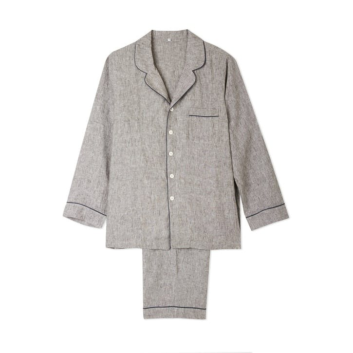 Men's Grey Linen Pyjama Set, Large