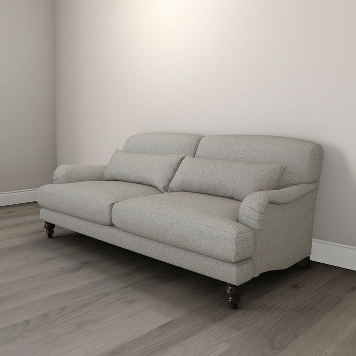 Petersham Three Seat Tweed Sofa, Mid Grey