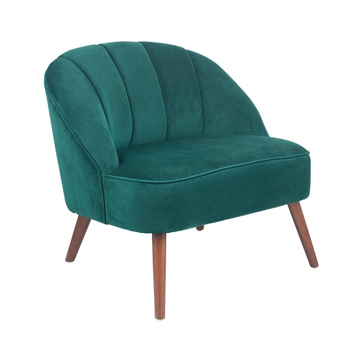 Austen Pleated Velvet Cocktail Chair, Forest Green