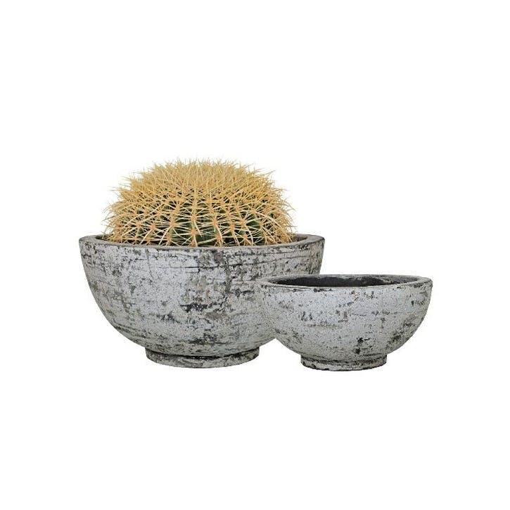 Scratched Concrete Flower Bowls, Set of 2