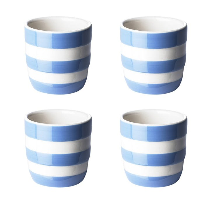 Set Of Four Egg Cups, Blue
