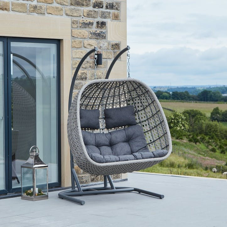 Double Hanging Chair, Stone Grey