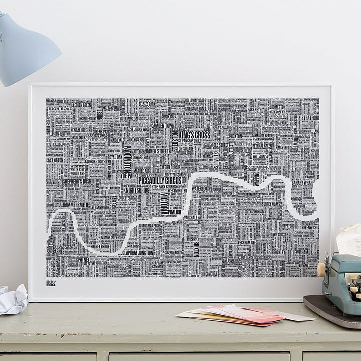 Type Map Screen Print London, 50cm x 70cm, Sheer Slate