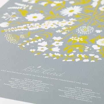 Bee Kind Screen Print, 50cm x 70cm, Warm Grey/ Yellow Moss