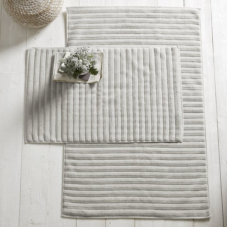 Hydrocotton Ribbed Bath Mat , Pearl Grey, Large