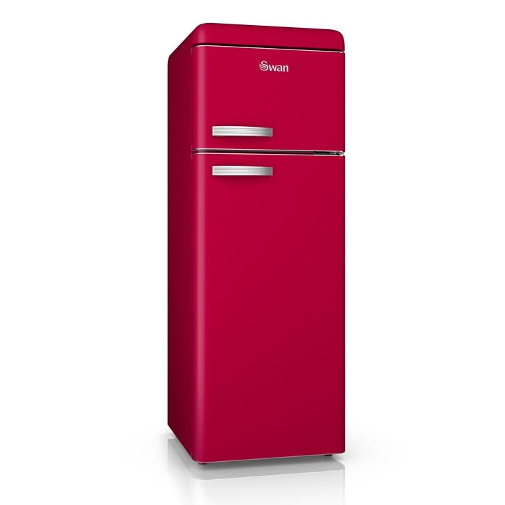 Retro Top-Mounted Fridge Freezer, Red