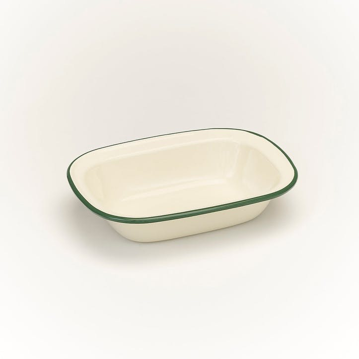 Pie Dish with Green Rim, 20cm