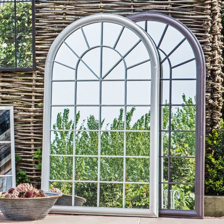 Large Arched Outdoor Mirror, White