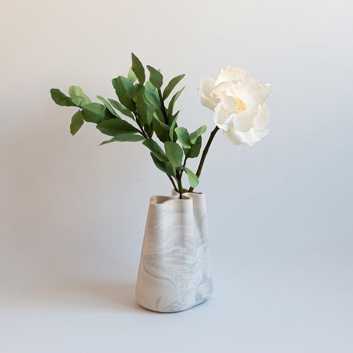 Jumony Small Vase, White Marble