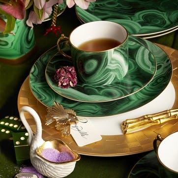 Malachite Teacup & Saucer, Set of 2