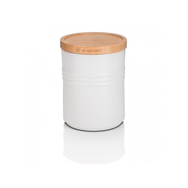 Stoneware Storage Jar with Wooden Lid - Medium; Cotton