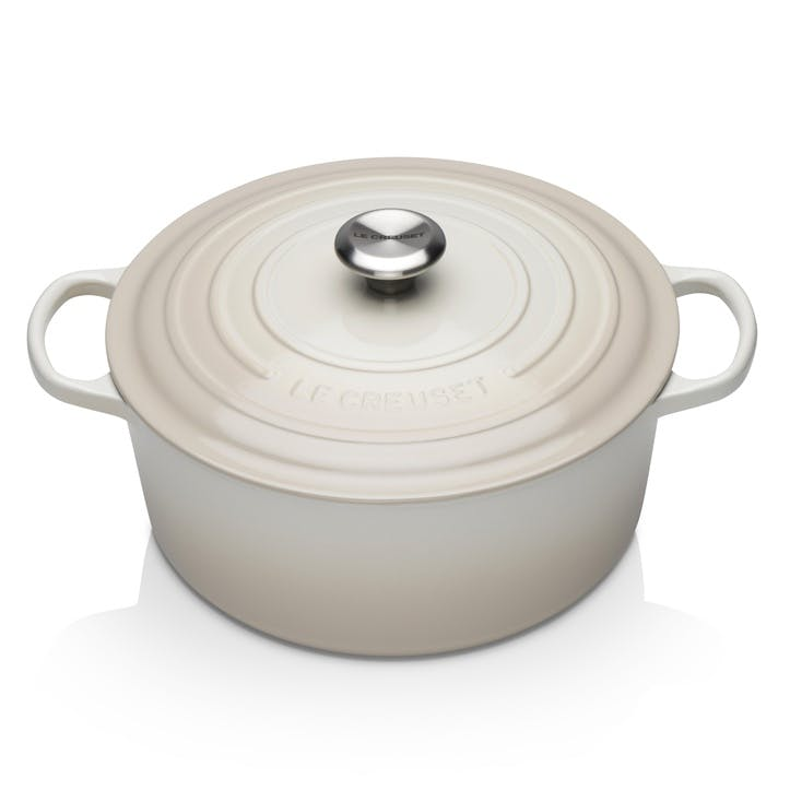 Signature Cast Iron Round Casserole, 28cm, Meringue
