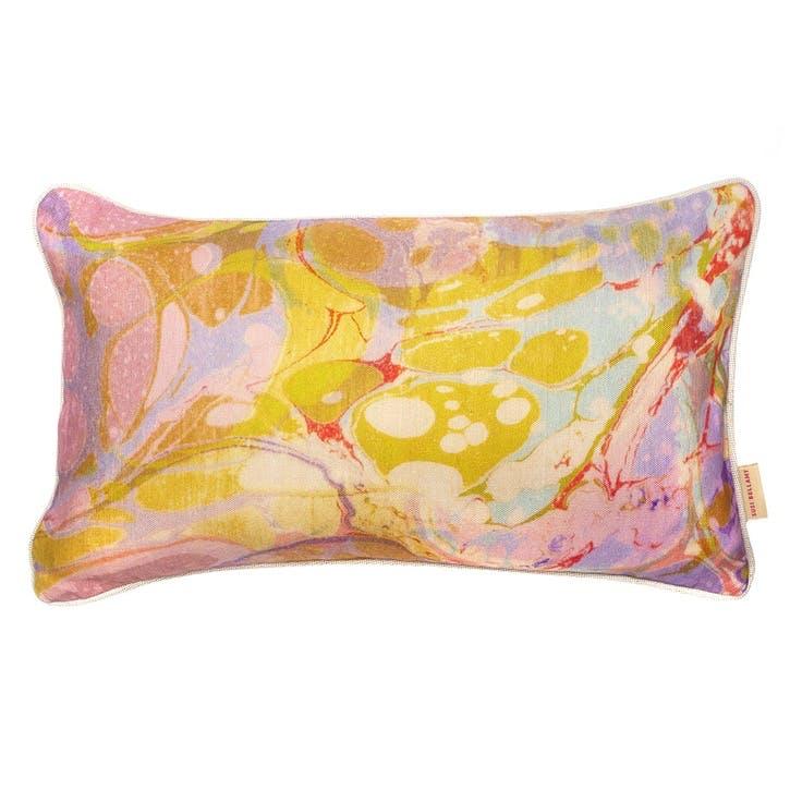 Lavender Tapestry Marble Linen Medium Oblong Cushion, H55 x W30cm