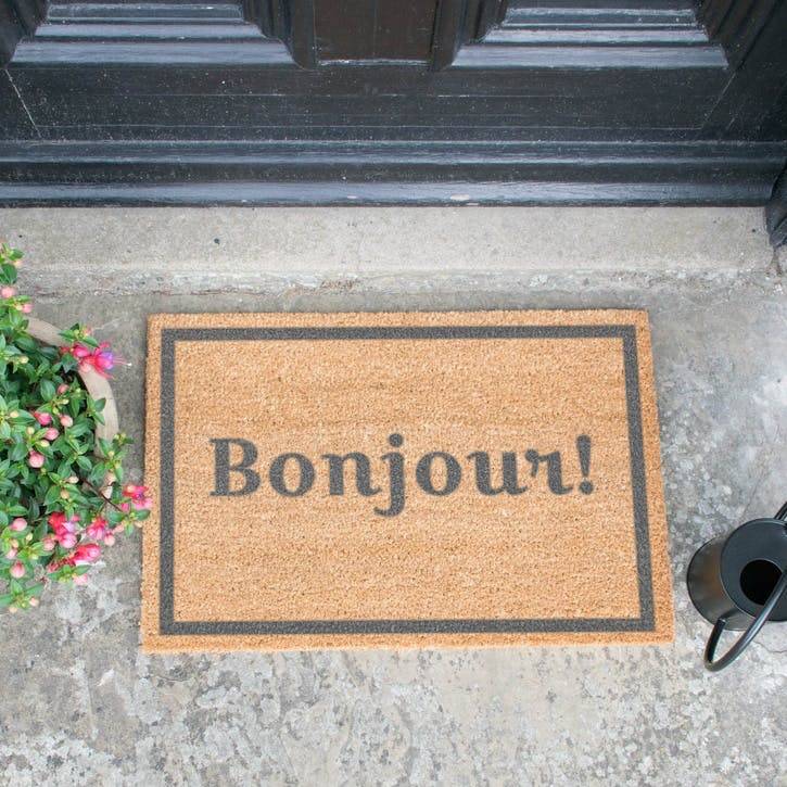 Bonjour with Border Doormat, Grey