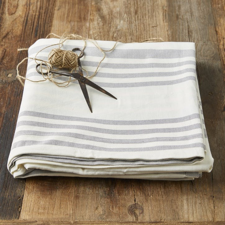 Modern Rustic Grey Stripe Tablecloth