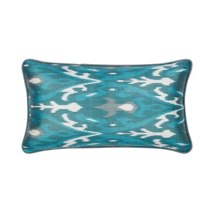 Verdigris & Jade Green Silk Ikat Cushion, Rectangular