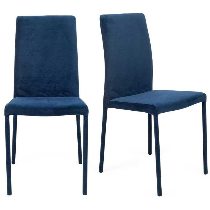 Bronte Pair of Dining Chairs; Velvet Indigo