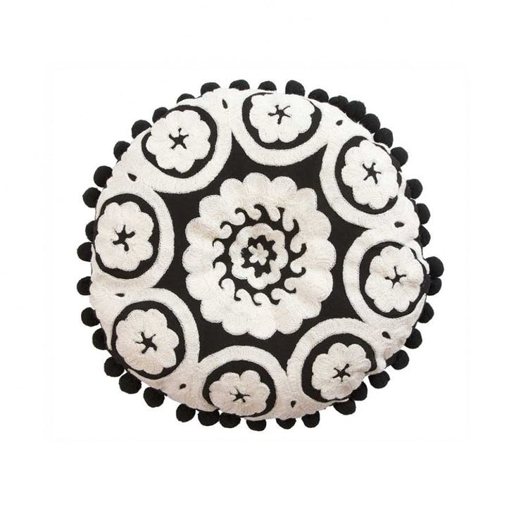 Flamenco Boucle Embroidered Cushion, 39cm, White on Black