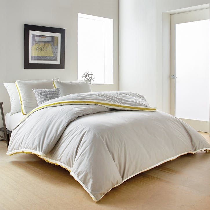 Sport Stripe King Duvet Cover, Silver Citron