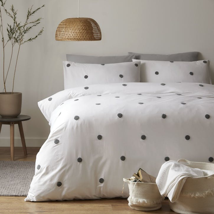 Polka Bedding Set, Double, Slate on White