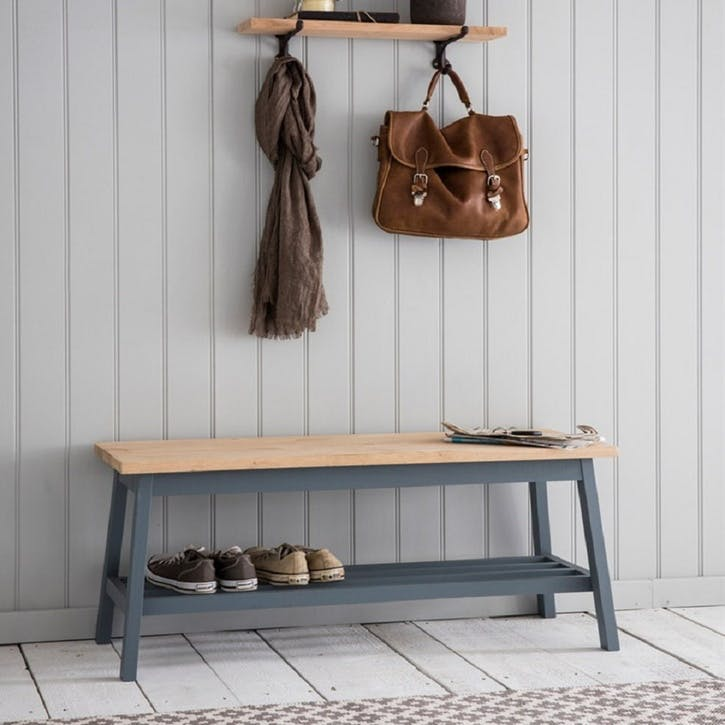 Clockhouse Hallway Bench in Charcoal, Beech