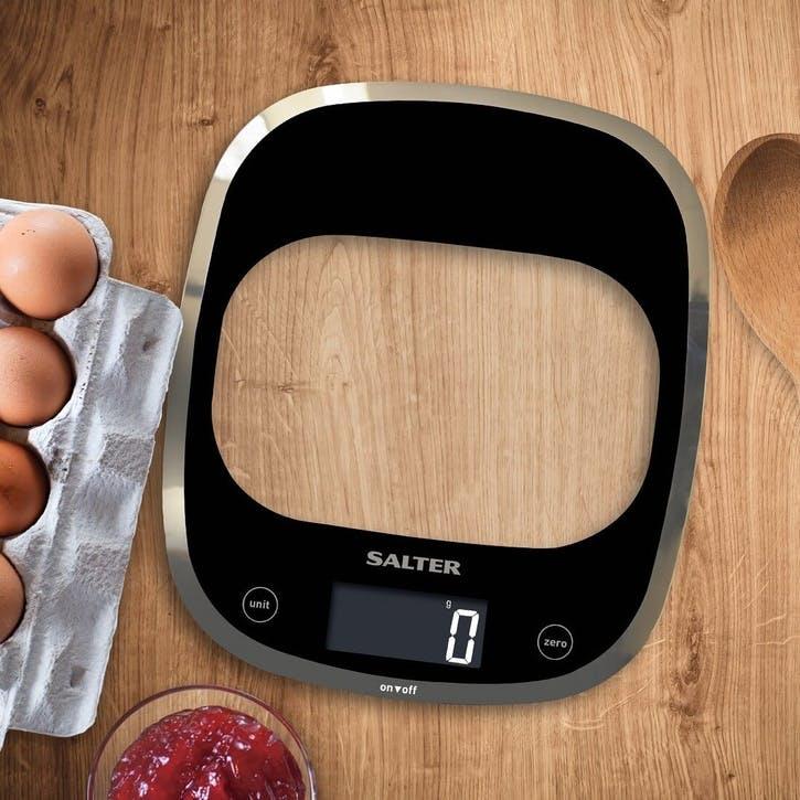 Curve Glass Electronic Digital Kitchen Scales, Black