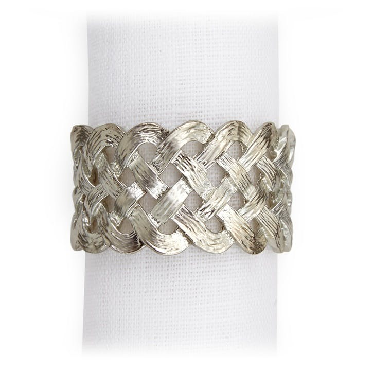 Braid Napkin Rings, Platinum, Set of 4