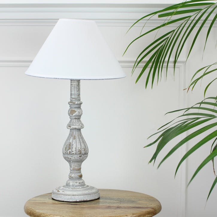 Distressed Wooden Lamp with Shade