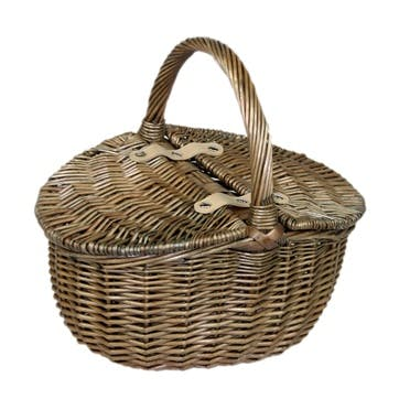 Antique Wash Finish Oval Picnic Basket, Small