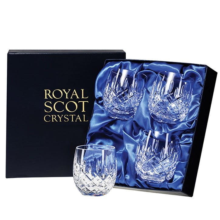 London Crystal Barrel Tumblers, Set of 4
