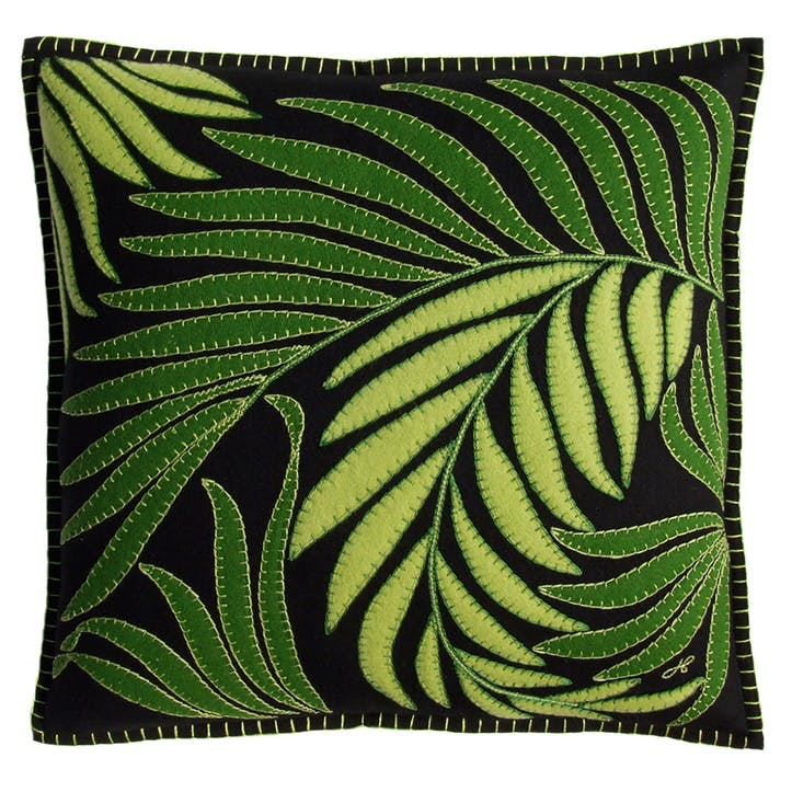 Tropical Palm Cushion, 46 x 46cm, Black