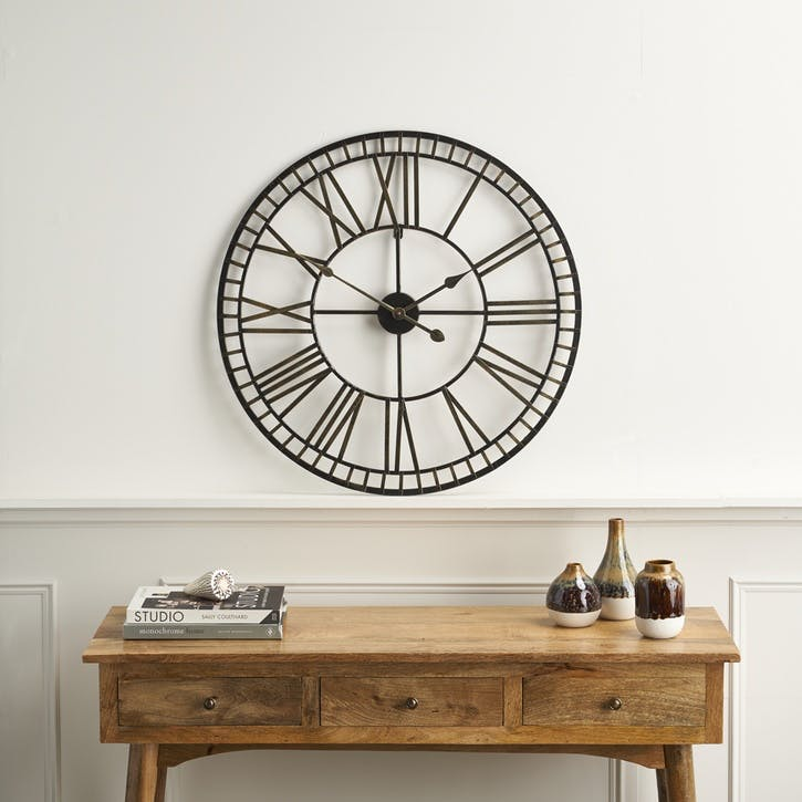 Modern Rustic Metal Clock, Black & Gold