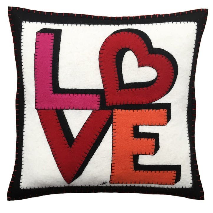 Love & Heart Cushion, 46 x 46cm, Cream