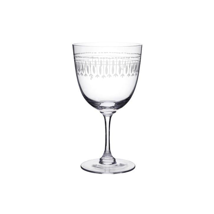 Oval Patterned Crystal Wine Glasses, Set of 6