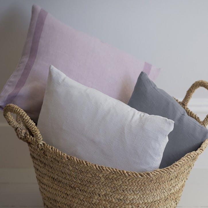 Mini Linen Cushion Cover, Charcoal