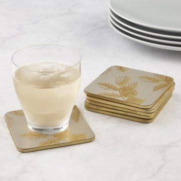 Etched Leaves Coasters, Set of 6, Light Grey/Gold