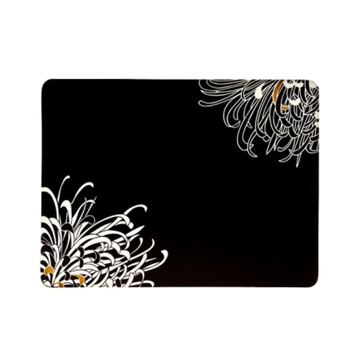 Chrysanthemum Set of 4 Tablemats, 30cm, Black