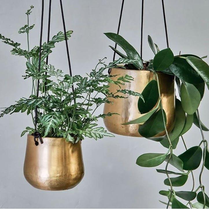 Atsu Brass Hanging Planter Small