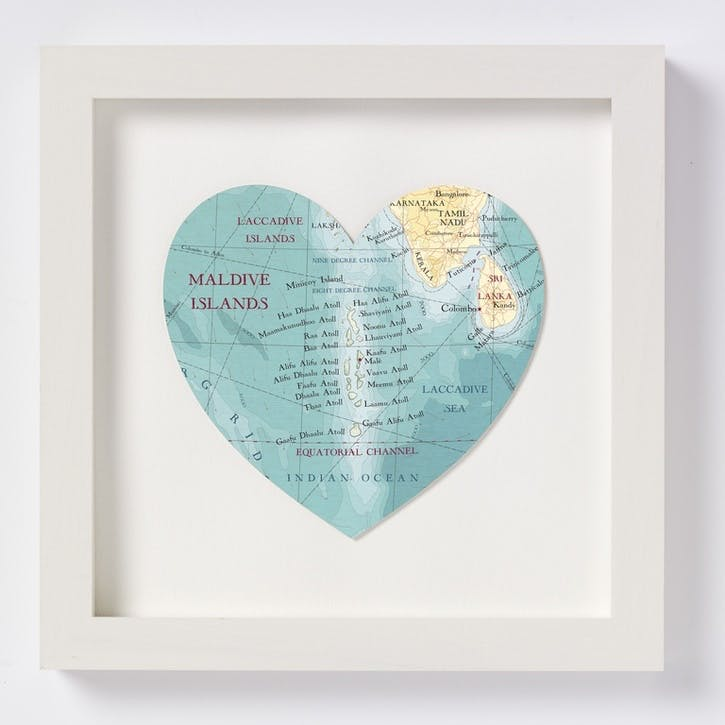 Maldives Framed Map Print, 28cm