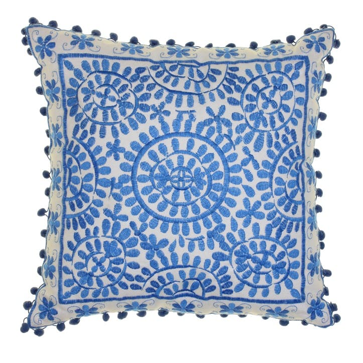 Souk Embroidered Cushion, 40cm, Blue