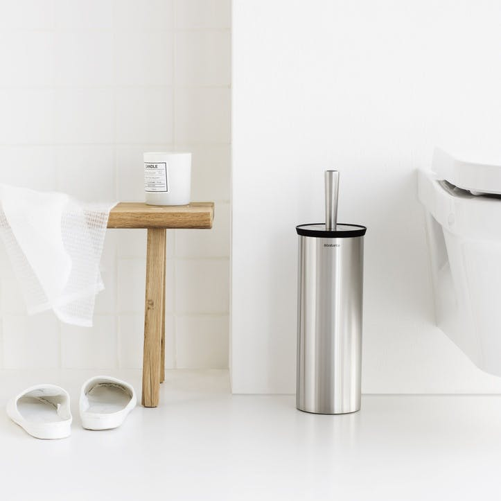 Toilet Brush & Cylinder, Brilliant Steel