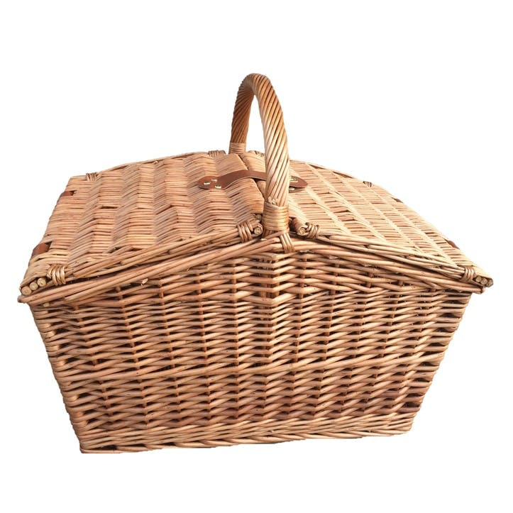 Slope-Sided Classic Hamper, Large, Tan & Real Leather