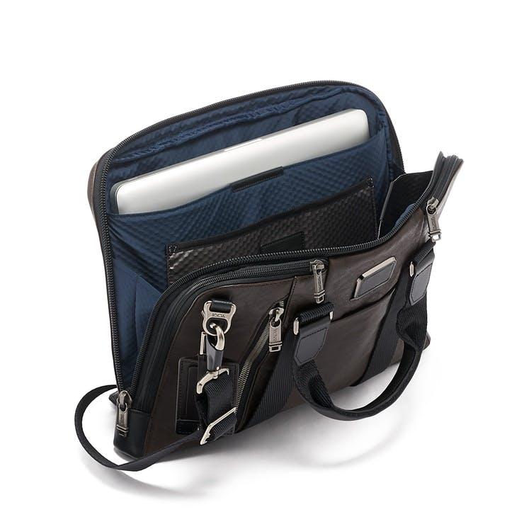 Alpha Bravo Aviano Slim Briefcase, Dark Brown