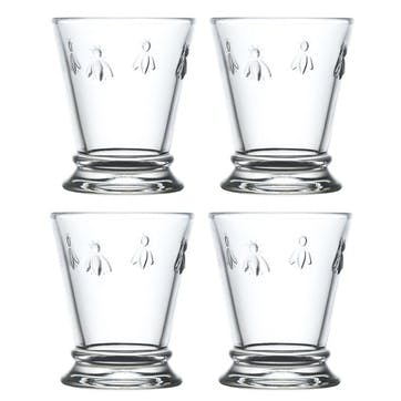 Bee, Mini Goblets, Set of 4, 185ml, Clear