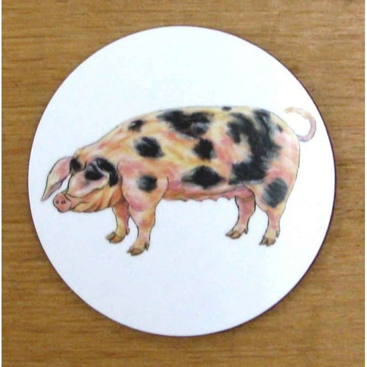 Gloucestershire Old Spot Pig Coaster - 10cm