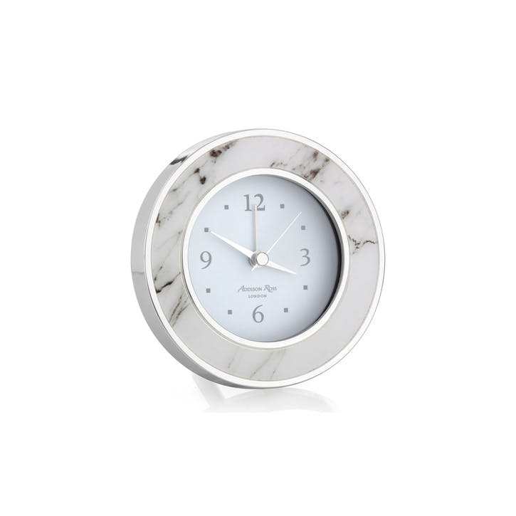 Alarm Clock; White Marble & Silver